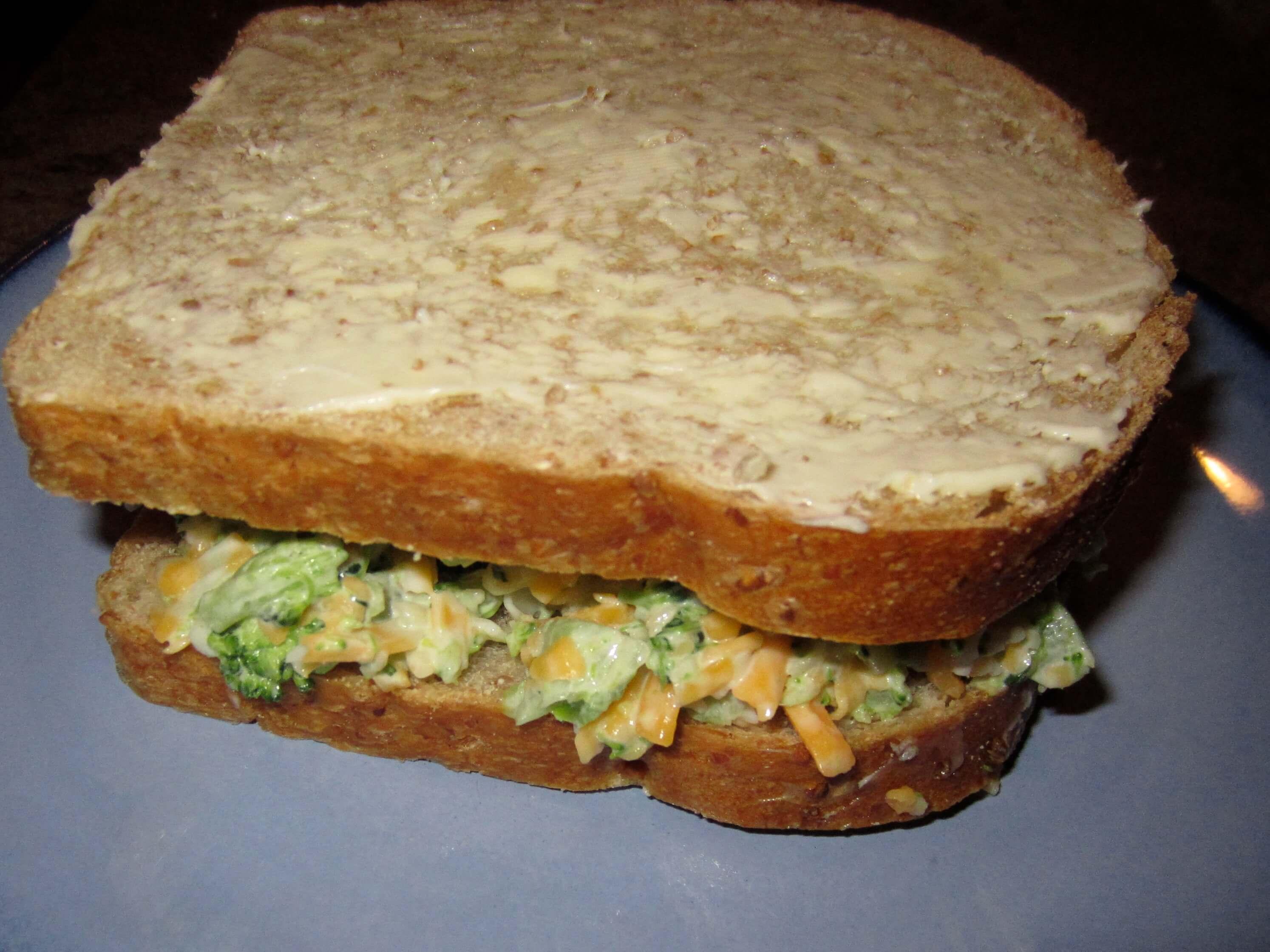 Broccoli cheese sandwich